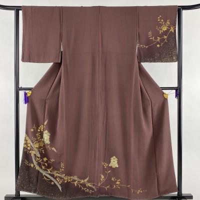 訪問着 美品 名品 やまと 開花文 草花 螺鈿 金彩 小豆色 袷 身丈156.5cm 裄丈62cm S 正絹 中古