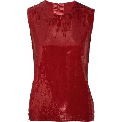 トップス ダナキャラン  Donna Karan York Red Sequin Top Cashmere Silk Blouse Christmas S