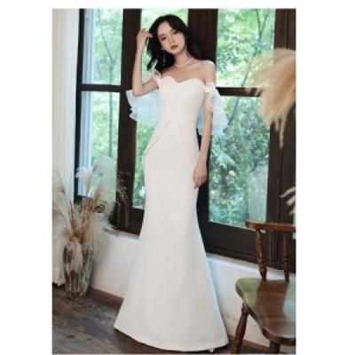 ウエディングドレス オフショルダー ロング丈ドレス パーティードレス 20代 30代 40代 マーメイドドレス フォーマル 結婚式 披露宴 二次