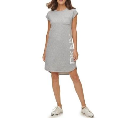 ダナ キャラン ニューヨーク レディース ワンピース トップス French Terry Knit Graphic Side Logo Cap Sleeve Hi-Low Shift Dress Heather Grey