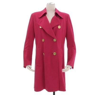 超美品 レオナール ファッション LEONARD 現行タグ ゴールドボタン ダブル チェスターコート 9AR レディース ピンク