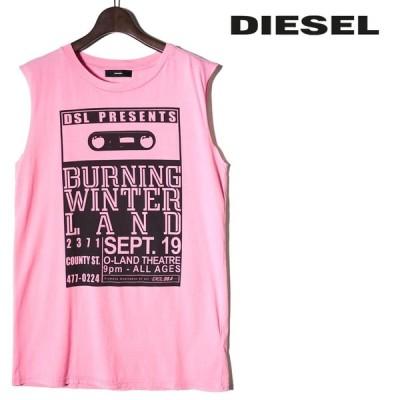 ディーゼル DIESEL ノースリーブTシャツ カットソー レディース プリント ロング丈 タンクトップ T-WESSY-L
