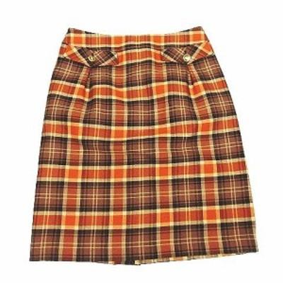 【中古】アリスバーリー Aylesbury チェック フレアスカート 膝丈 ハーフ ウール 11 オレンジ 茶 ブラウン レディース