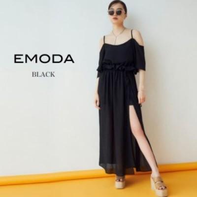 SALE20%OFF EMODA エモダ 通販 ディープサイドスリットマキシワンピース 042030370801/2020春夏  ロングドレス