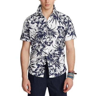 ラルフローレン メンズ シャツ トップス Classic-Fit Floral Print Oxford Short-Sleeve Woven Shirt White