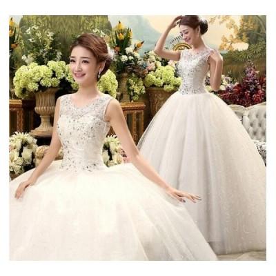 二点送料無料ウェディングドレス花嫁パーティー 結婚式ワンピース編み上げタイプ結婚式フォーマル二次会パーティードレス韓国風お姫系刺繍レースAライン
