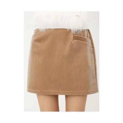 rienda サイドポケットベロアJ/Wタイトスカート ベージュ