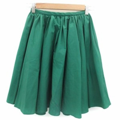 【中古】レッセパッセ LAISSE PASSE スカート フレア ギャザー ひざ丈 38 グリーン 緑 /YM7 レディース