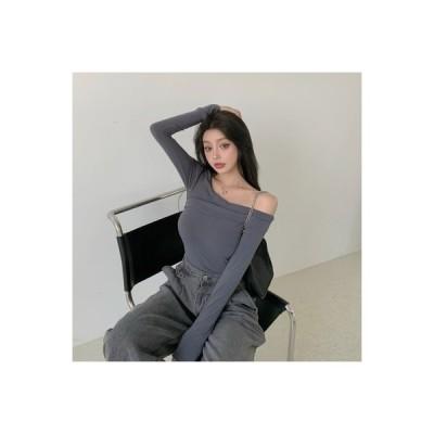 【送料無料】秋 単一色 長袖Tシャツ 女 着やせ 着やせ 何でも似合う ボトムシャツ | 346770_A63670-5071531