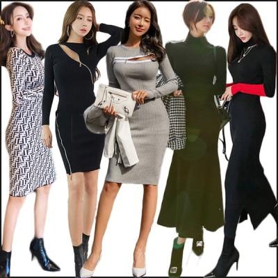 高品質ニットワンピース バーゲンセール 秋服ロングワンピース韓国ファッションシンプルなニットワンピース♡スカート 限定発売上品&ガーリー♡ 女服★ドレスセーター
