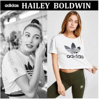 ヘイリー・ボールドウィン着用☆ アディダス adidas Originals テープ ロゴ トップス Tシャツ 半袖