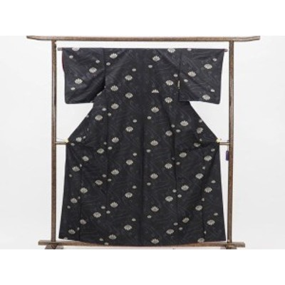 【中古】リサイクル紬 / 正絹黒地袷大島調紬着物 (古着 中古 紬 リサイクル品)