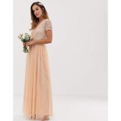 マヤ レディース ワンピース トップス Maya Bridesmaid V neck maxi dress with delicate sequin in soft peach
