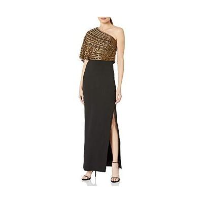 Adrianna Papell レディース ビーズクレープドレス US サイズ: 10 カラー: ゴールド【並行輸入品】