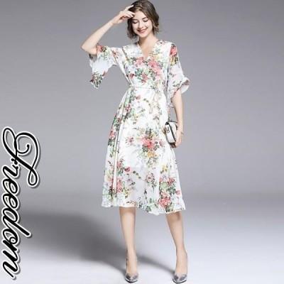 大きいサイズ ドレス 結婚式 お呼ばれ 発表会 謝恩会 カシュクールフリル袖花柄シフォンドレスワンピース M L 2L 3L サイズ セール