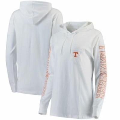 Pressbox プレス ボックス スポーツ用品  Pressbox Tennessee Volunteers Womens White Mystic Hooded Long Sleeve T-Shirt
