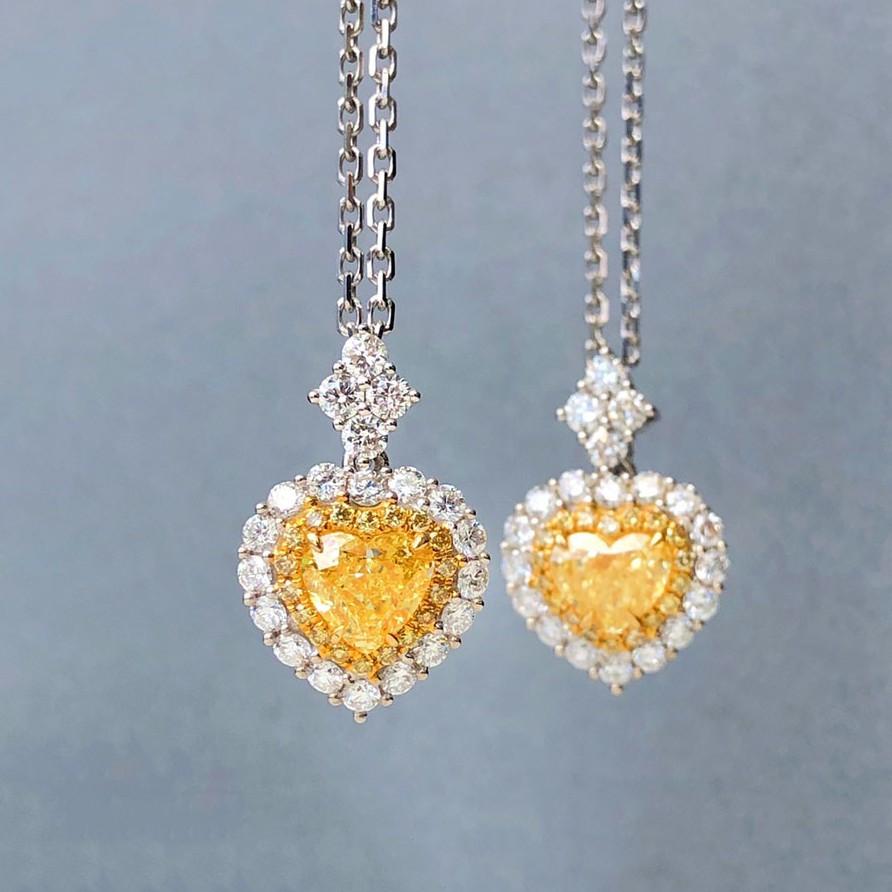 璽朵珠寶 [ 18K金 彩鑽 項鍊 ] 黃鑽 黃彩鑽 微鑲工藝 潮流設計 鑽石權威 婚戒顧問 鑽石 婚戒第一品牌 GIA