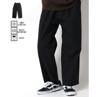 【マルカワ】 ルートスリー バルーンパンツ UVカット ストレッチ ロングパンツ ボトム ルームウェア 部屋着 メンズ ブラック L MARUKAWA