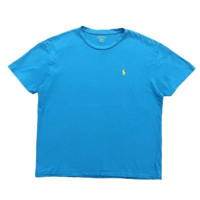 古着 ラルフローレン POLO RALPH LAUREN ワンポイントTシャツ シアンブルー サイズ表記:M