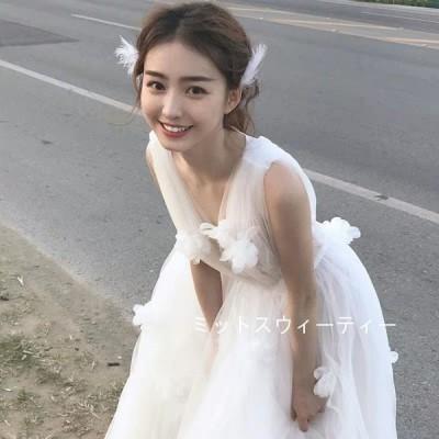 パーティードレス 結婚式 袖なし ロング丈 透かし感 ブライダル 二次会 花嫁 前撮り フォトウェディング リゾートウェディング 撮影 挙式 チュール ふわふわ