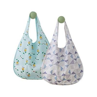 HONNIYOYOエコバッグ折りたたみ買い物袋大容量防水素材2個セットポケット付きサイズおしゃれショッピング収納