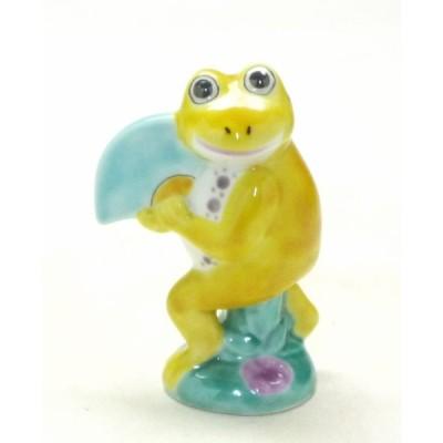 九谷焼 カエル 蛙 置物 オブジェ 玄関 リビング インテリア 風水 開運 無事かえる ステップアップ  扇カエル 3号