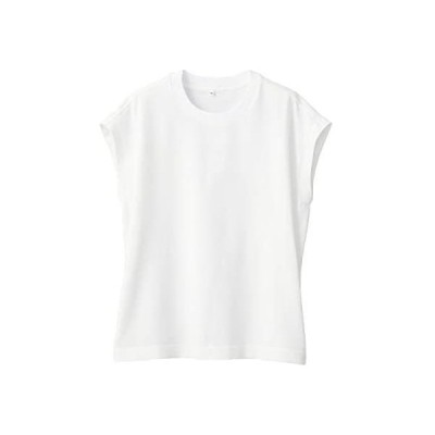 無印良品 Tシャツ 丈夫で 洗えるニットTシャツ レディース    M    ホワイト