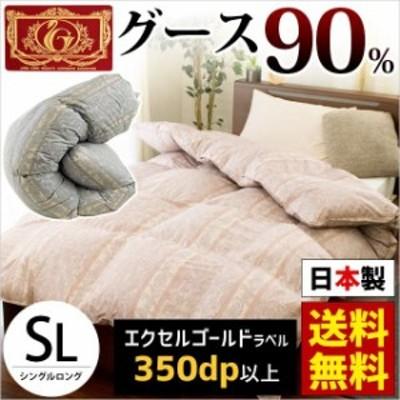 【送料無料】日本製 羽毛布団 「Irmeli」グースダウン90% シングルロング 150×210 ピンク ブルー 国内パワーアップ加工 立体キルト