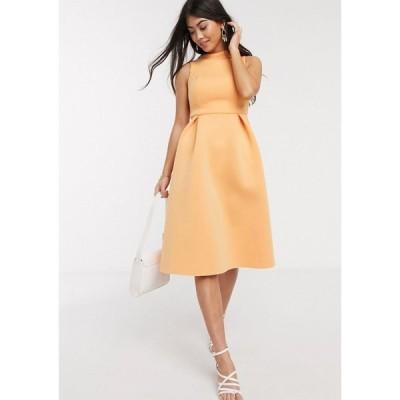 エイソス ASOS Petite レディース ワンピース ASOS DESIGN Petite high neck sleeveless midi prom dress with lace up back in washed tangerine