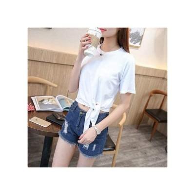 Joy Corn 短袖Tシャツ レディース 夏 丸首 ファッション 青春 無地の色 純綿 上着