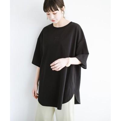 (haco!/ハコ)LadyLee シンプルで使いやすい刺しゅうロゴTシャツ/レディース ブラック