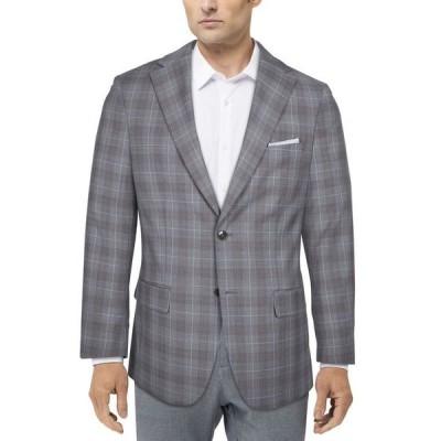 タリア メンズ ジャケット・ブルゾン アウター Men's Slim-Fit Plaid Suit Jacket