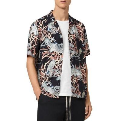 オールセインツ メンズ シャツ トップス Siber Bird Print Relaxed Fit Camp Shirt