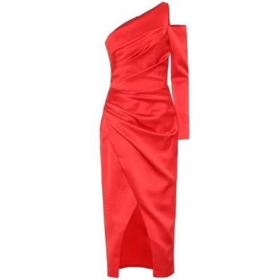 ロサリオ RASARIO レディース ワンピース ワンショルダー ミドル丈 ワンピース・ドレス one-shoulder satin midi dress Red