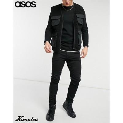 asos エイソス スキニージーンズ デニムパンツ メンズ ストレッチ ブラック 大きいサイズあり