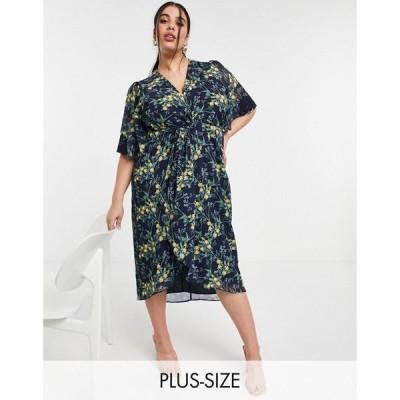 ホープアンドアイヴィー Hope & Ivy Plus レディース ワンピース ミドル丈 Kimono Knot Front Midi Dress In Navy Floral ネイビーフローラル