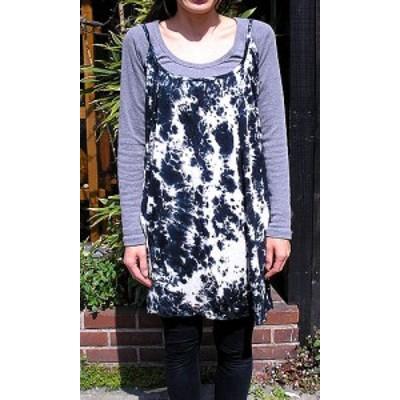 タイダイ キャミソールチュニック 黒 白 アジアン雑貨 バリ雑貨 ファッション レディース キャミソール チュニック 衣類 メール便可