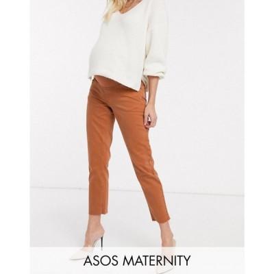 エイソス ASOS Maternity レディース ジーンズ・デニム マタニティウェア ASOS DESIGN Maternity Original mom jean in rust with raw hem detail レンガ