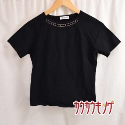 【中古】McD/マックデイビット Tシャツ カットソー ブラック サイズL レディース イタリア製