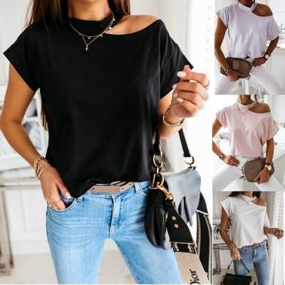 ホルターネック Tシャツ レディース カットソー 半袖 シンプル 無地 ゆったり 夏Tシャツ カジュアル トップス 通勤/通学 大きいサイズ 大人 着痩せ セクシー