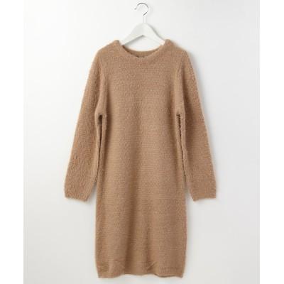 ラメ入りふわふわシャギー素材ニットワンピース (ワンピース)Dress