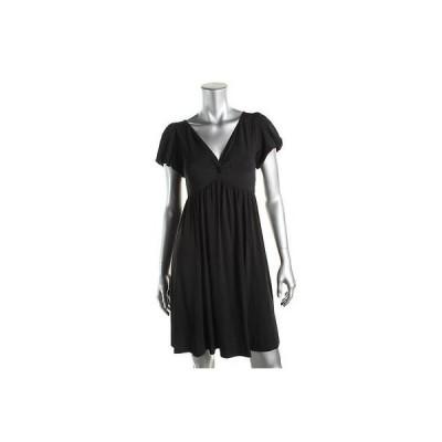 ドレス 女性  海外セレクション Studio M 0233 レディース ブラック Pleated Puff スリーブs カジュアル ドレス Petites PS