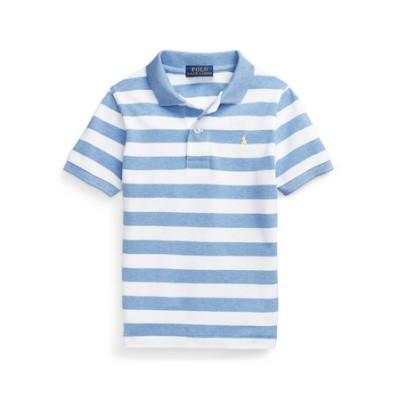 (ボーイズ 5才~7才)ストライプド コットン メッシュ ポロシャツ