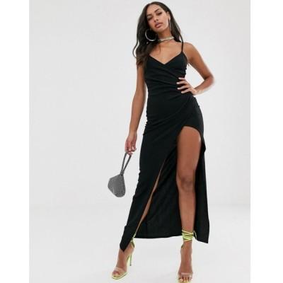プリティリトルシング PrettyLittleThing レディース ワンピース ワンピース・ドレス wrap maxi dress with cami sleeves in black Black