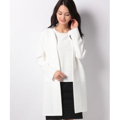 【ラピーヌ ブランシュ】 タック編みボーダーノーカラーニットジャケット レディース ホワイト 38 LAPINE BLANCHE
