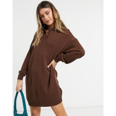 エイソス レディース ワンピース トップス ASOS DESIGN mini dress with polo neck in brown