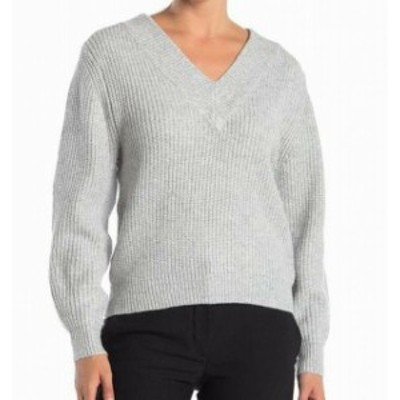 ファッション トップス Catherine Malandrino Womens Ribbed Knit Gray Medium M V-Neck Sweater