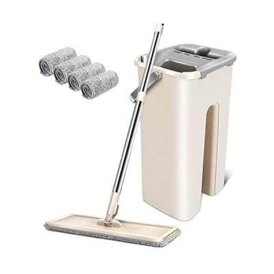 モップ フロアモップ 水拭きモップ バケツ付き 手洗い不要 モップバケツセット 乾湿両用 腰曲げず モップ絞り器 水切りモップ 床掃除 部屋掃除