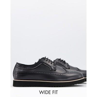 トゥラッフル メンズ スリッポン・ローファー シューズ Truffle Collection wide fit casual lace up brogues in black Black