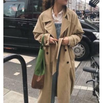 2色 トレンチコート ロングコート アウター オーバーサイズ カジュアル シンプル 通勤 韓国 オルチャン ファッション
